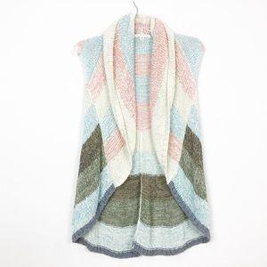 CAbi Rainbow Shawl Collar Sleeveless Open Cardigan
